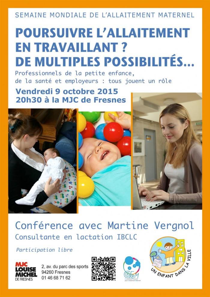 Conférence SMAM 2015 à Fresnes - Poursuivre l'allaitement en travaillant ? De multiples possibilités.